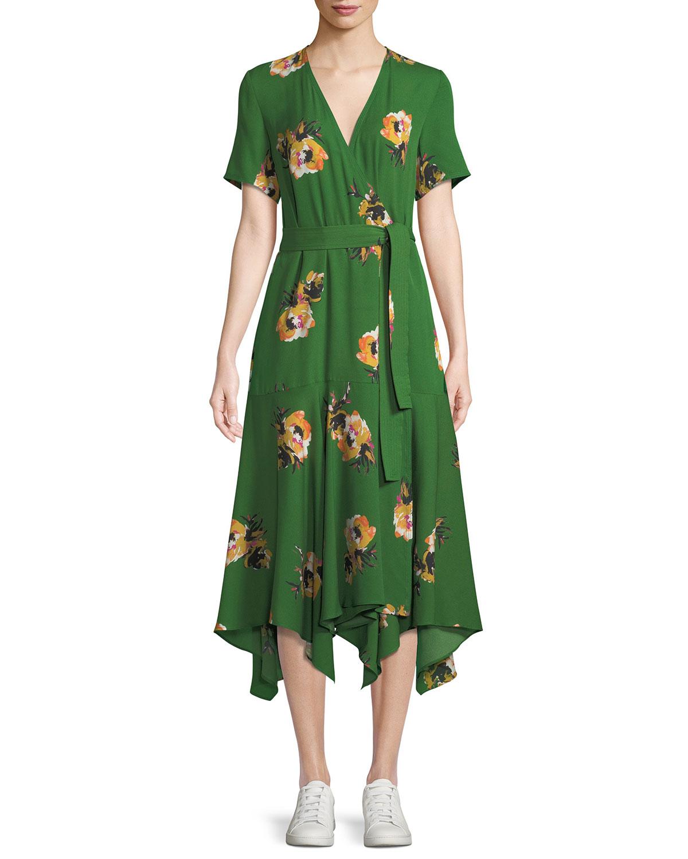 7406f8070c5b A.L.C. Cora Floral Silk Wrap Midi Dress