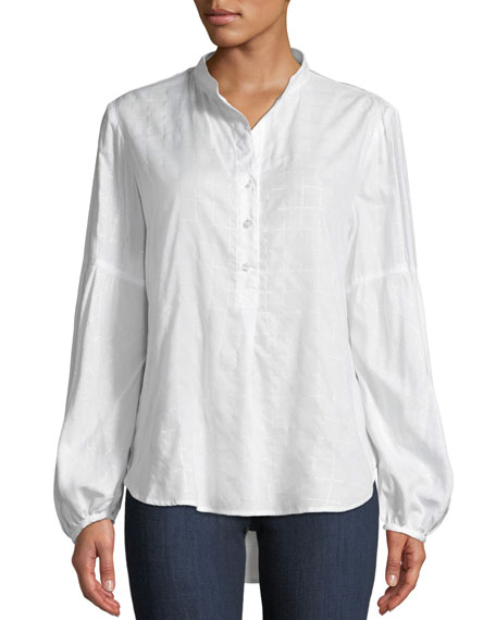 Finley OLIVIA SILVER STRINGS BUTTON-DOWN TOP