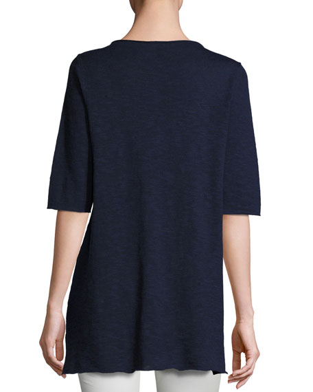 Half-Sleeve Linen-Blend Tunic