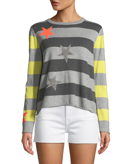 Lucky Star Striped Cotton/Cashmere Sweater, Plus Size