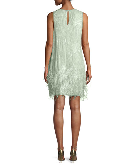 Parker Black Allegra Sequin Mini Cocktail Dress w/ Feathers