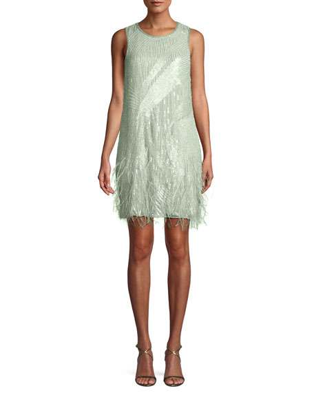 Image 1 of 3: Allegra Sequin Mini Cocktail Dress w/ Feathers