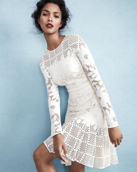 Long-Sleeve Mixed-Media Dress