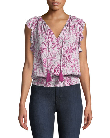 Ramy Brook Donnie Printed Ruffle Blouson Top