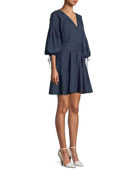 Rachele Wrapped Poplin Mini Dress