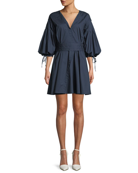 Tanya Taylor Rachele Wrapped Poplin Mini Dress