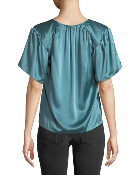 Rebecca Taylor Short-Sleeve Silk Charmeuse V-Neck Top