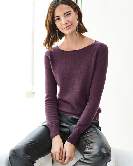 Long-Sleeve Cashmere Boat-Neck Sweater