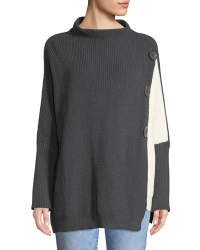 Petite Solstice Lightweight Two-Tone Cotton Pullover Sweater