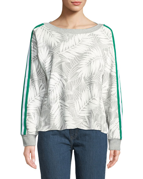 Current/Elliott Breck Palm-Print Side-Stripe Crewneck Sweatshirt