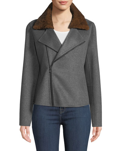 Luxury Cashmere Moto Jacket w/ Rabbit Fur Collar