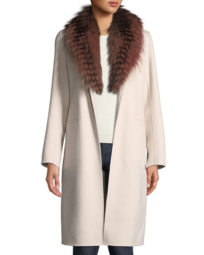 Luxury Open-Front Cashmere Coat w/ Fox Fur Collar