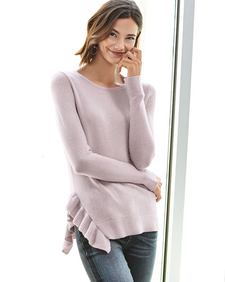 Side-Ruffle Long-Sleeve Cashmere Sweater