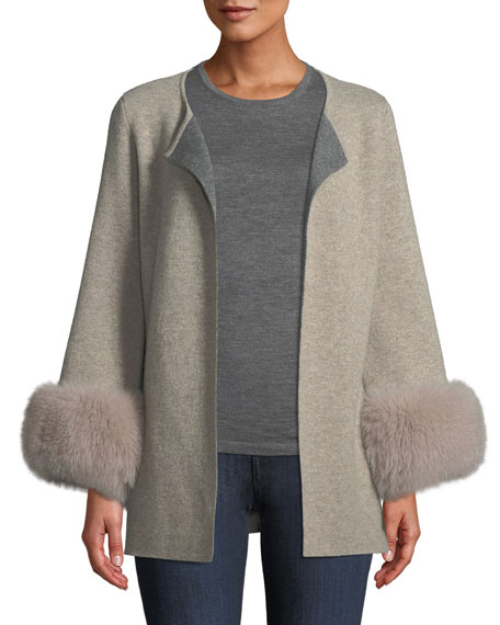 Luxury Double-Knit Cashmere Cardigan w/ Fox Fur Cuffs