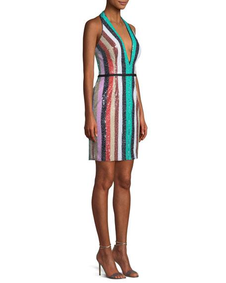 Multicolor Sequin Stripe Mini Dress