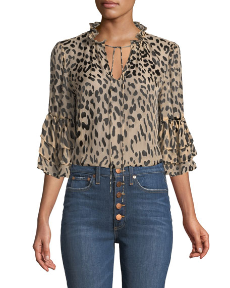 Alice + Olivia Julius Leopard-Print Button-Front Top