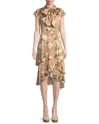 Lavenia Tiered Floral Midi Dress