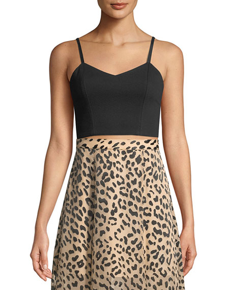 Alice + Olivia Archer V-Neck Cropped Bustier Top