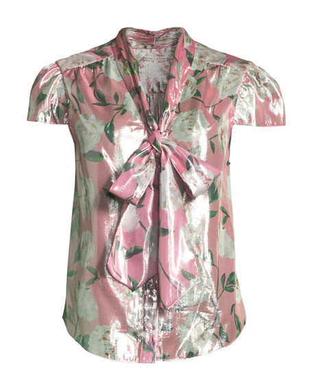Jeannie Cap-Sleeve Floral Blouse
