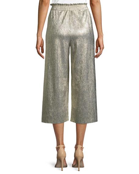 Elba Metallic Plisse Pull-On Cropped Wide-Leg Pants