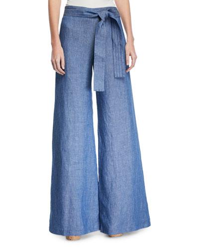 Belvia Belted Wide-Leg Pants