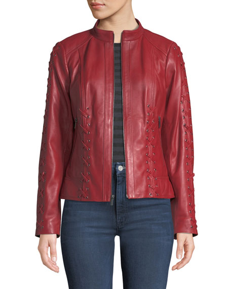 Neiman Marcus BRAIDED-LACE ZIP-FRONT LEATHER MOTO JACKET