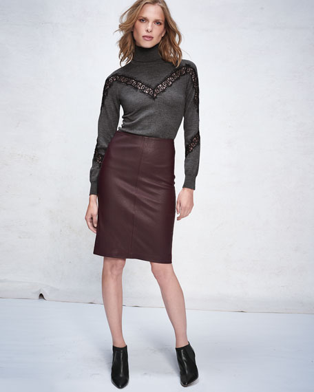 Lamb Leather & Ponte Pencil Skirt