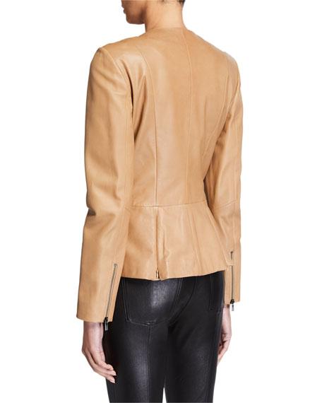 Neiman Marcus Leather Collection Zip-Front Leather Peplum Jacket