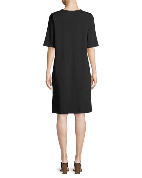 Half-Sleeve Asymmetric-Hem Cotton Shift Dress
