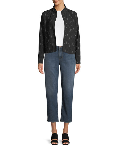 Eileen Fisher Plus Size High-Rise Slim Frayed-Hem Ankle Jeans
