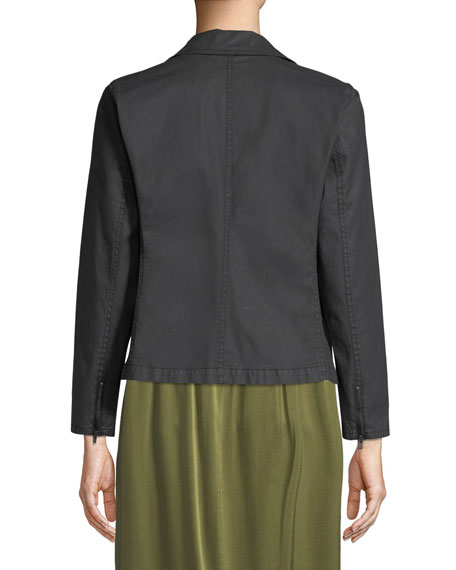Waxed Organic Cotton Moto Jacket, Petite