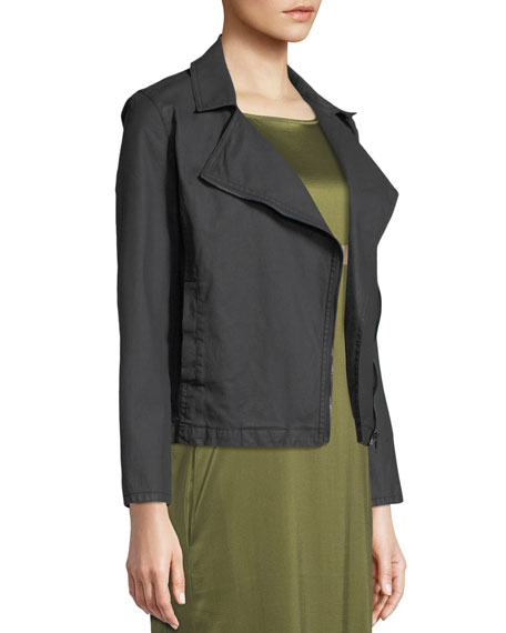 Waxed Organic Cotton Moto Jacket, Plus Size