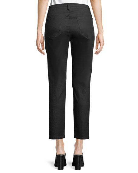 Coated Skinny Ankle Jeans, Black