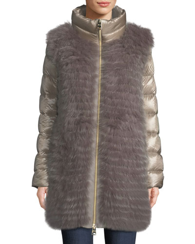 Fox-Fur Puffer Coat w/ Detachable Sleeves
