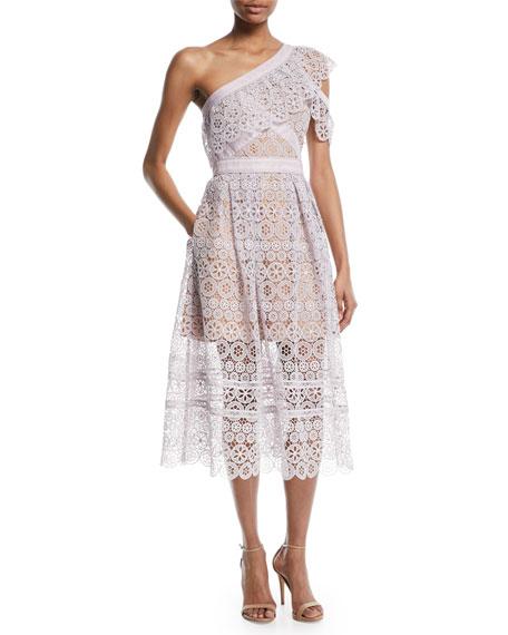 One-Shoulder Floral Lace Midi Cocktail Dress