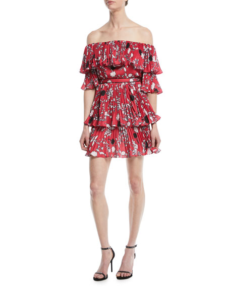 Self-Portrait Pleated Off-the-Shoulder Floral-Print Mini Dress
