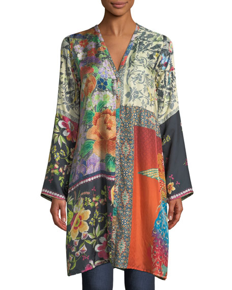 Johnny Was Peadover Long Button-Front Silk Cardigan