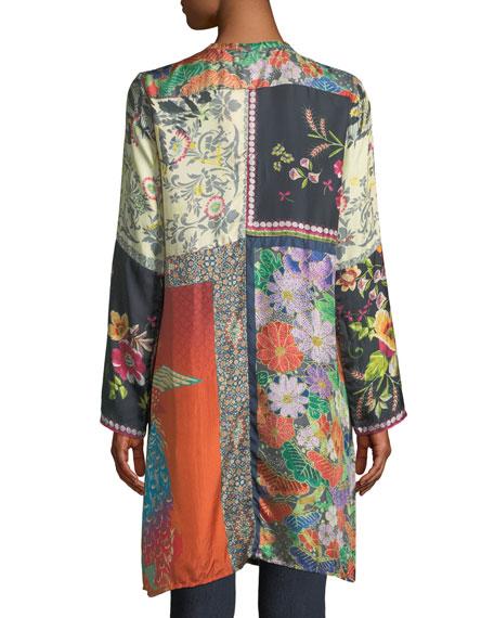 Petite Peadover Long Button-Front Silk Cardigan