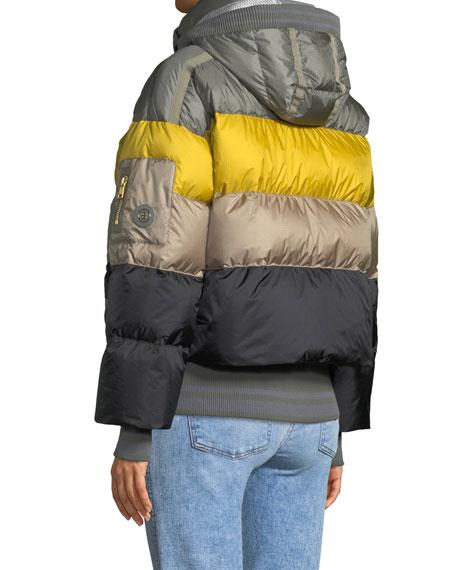 Velia Striped Puffer Coat w/ Hood