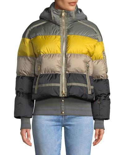 Velia Striped Puffer Coat w/ Hood