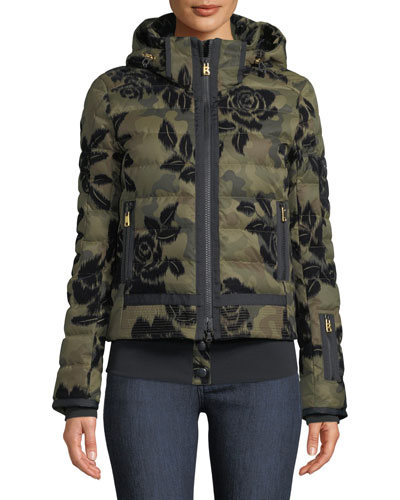 Muriel Camo & Floral-Print Jacket w/ Removable Hood