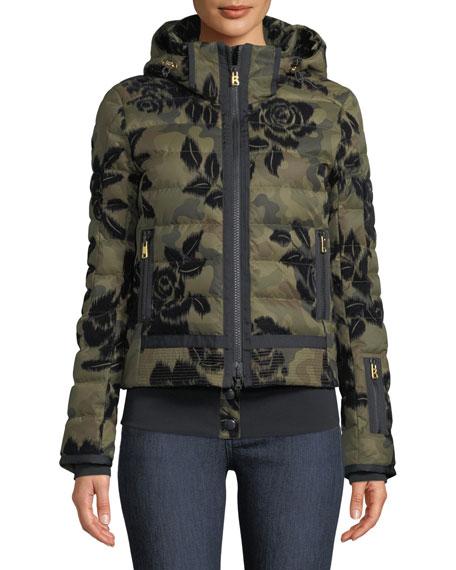 Muriel Camo & Floral-Print Jacket w/ Removable Hood