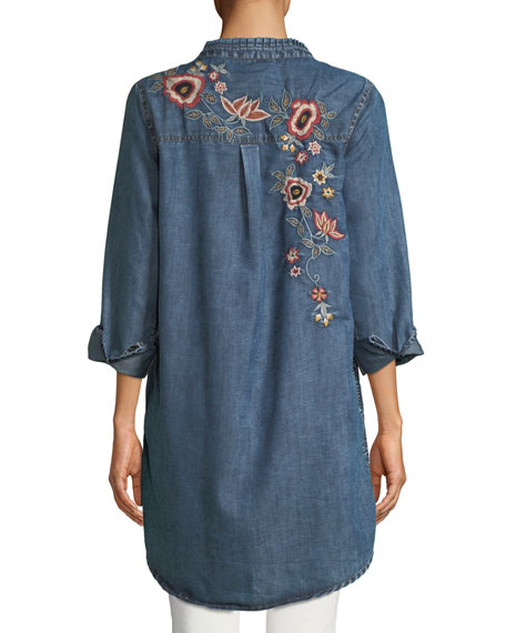 Tolani Plus Size Madison Chambray Tunic Shirt w/ Floral Embroidery