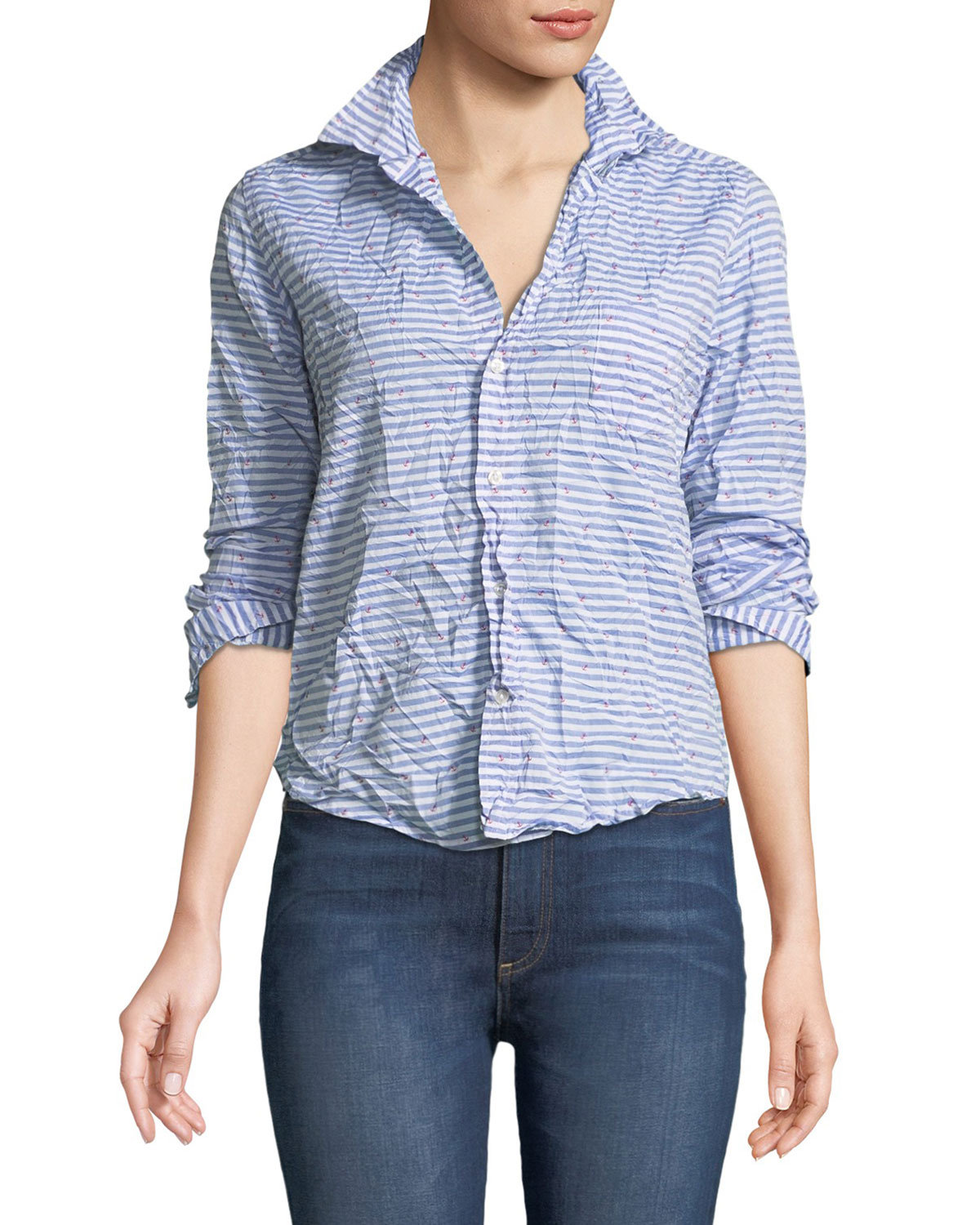6953f449 Frank & Eileen Barry Striped Poplin Button-Down Top | Neiman Marcus