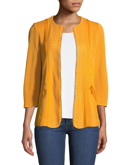 Short Textured Knit Jacket with Zipper Detail