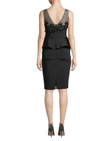 Little Black Cocktail Dress w/ Asymmetric Ruffle Skirt