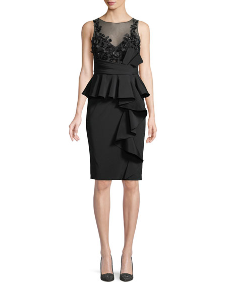 Marchesa Notte Little Black Cocktail Dress w/ Asymmetric