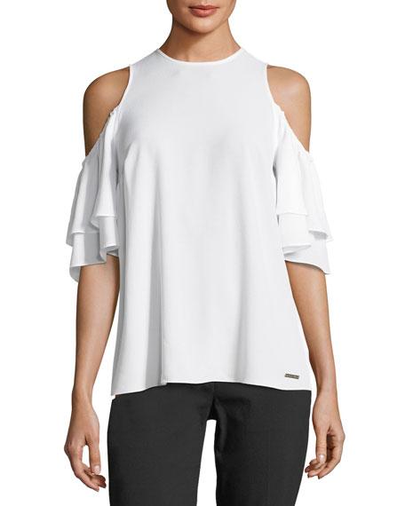 Cold-Shoulder Flounce-Sleeve Top