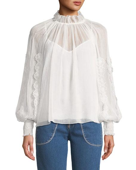 V-Neck Floral Cutout Long-Sleeve Blouse