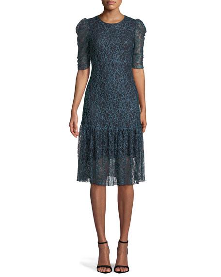 Floral Mesh Lace Midi Dress